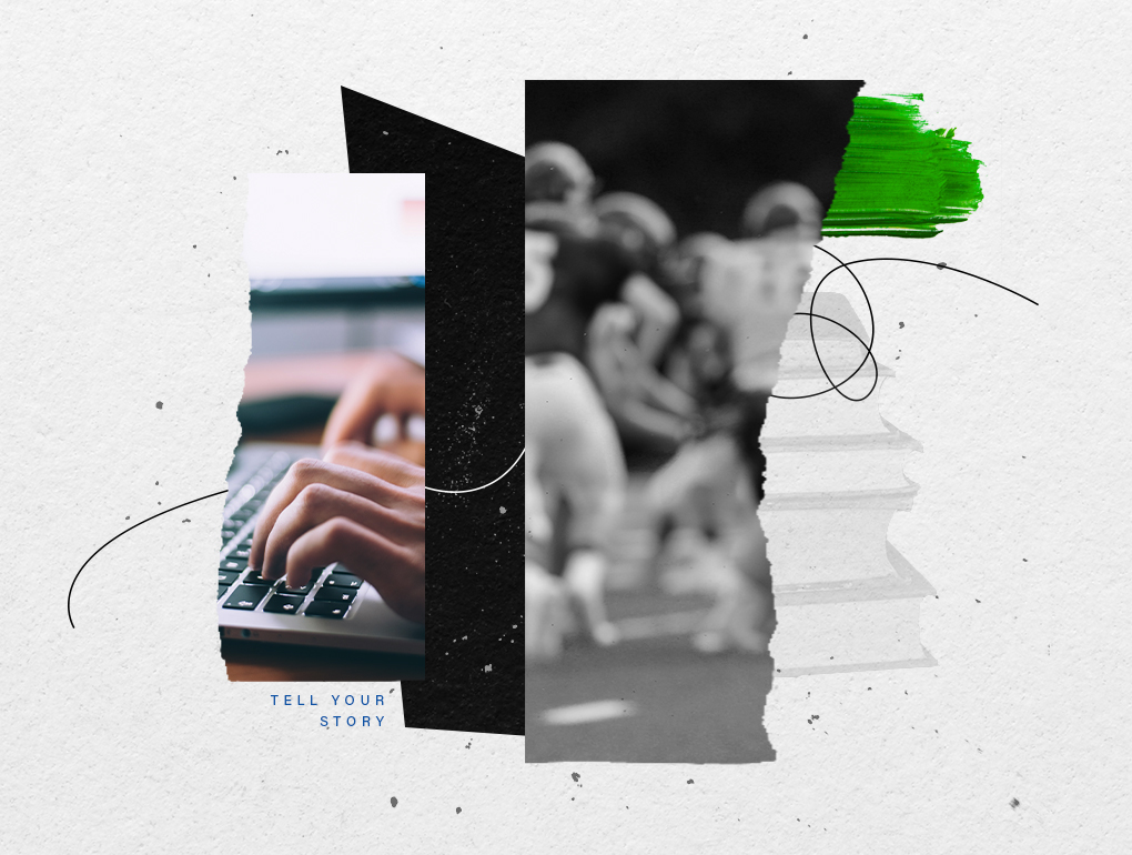 Black, white and green collage featuring hands typing on a keyboard