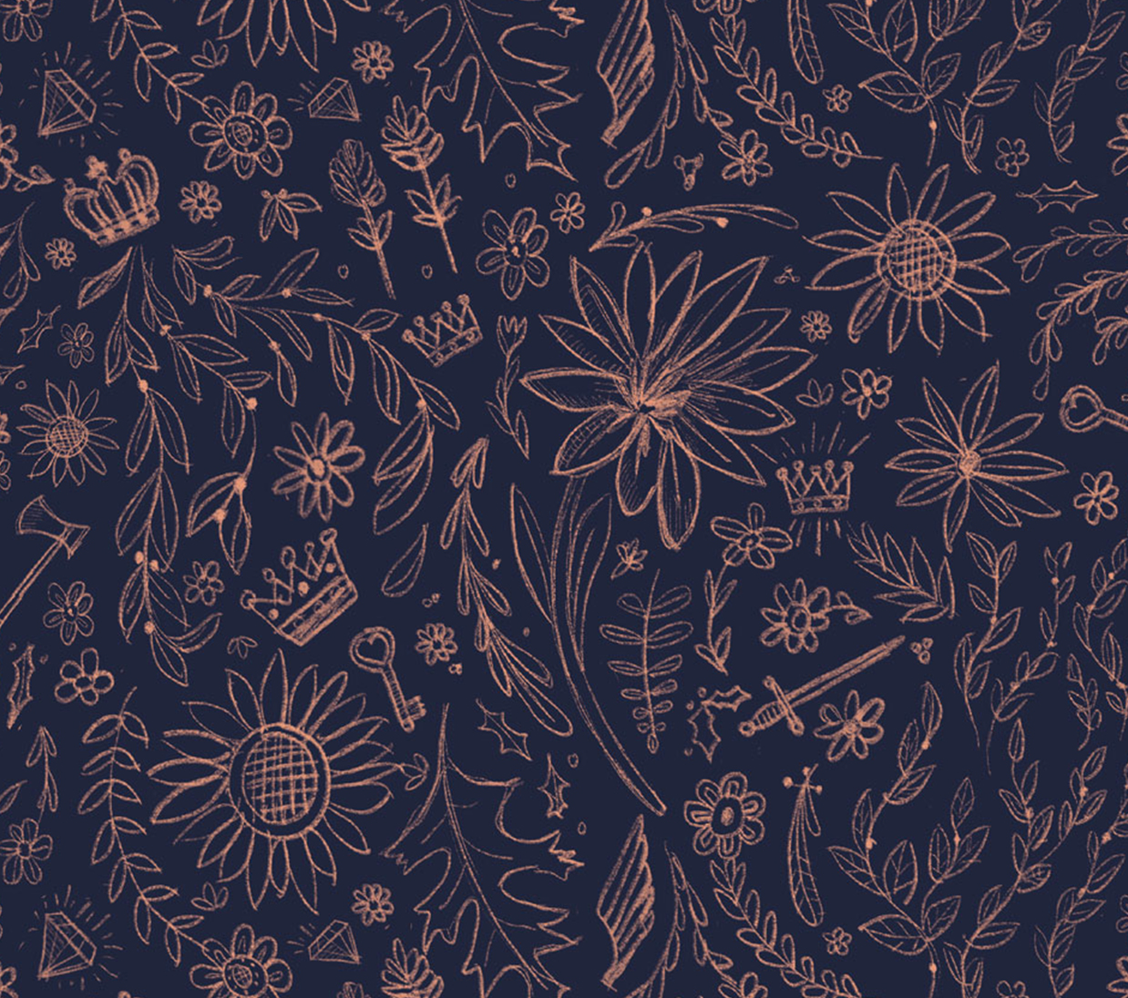 StrongWell illustration pattern of flowers, crowns and filigree elements