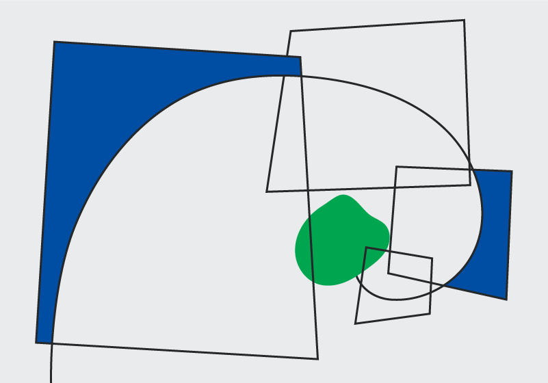 Black, white, green and blue geometric abstract image