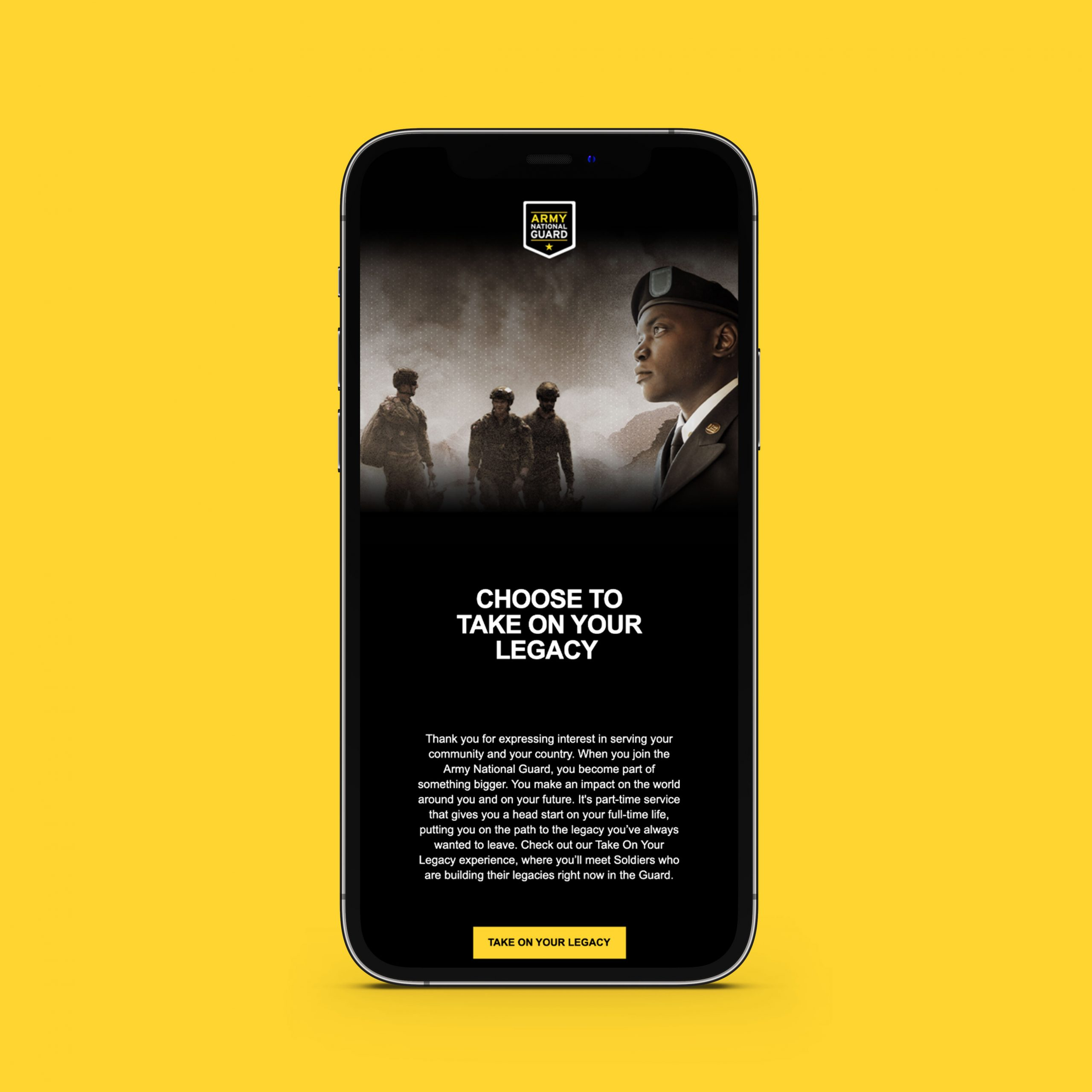 Army National Guard Legacy Campaign on iPhone mockup