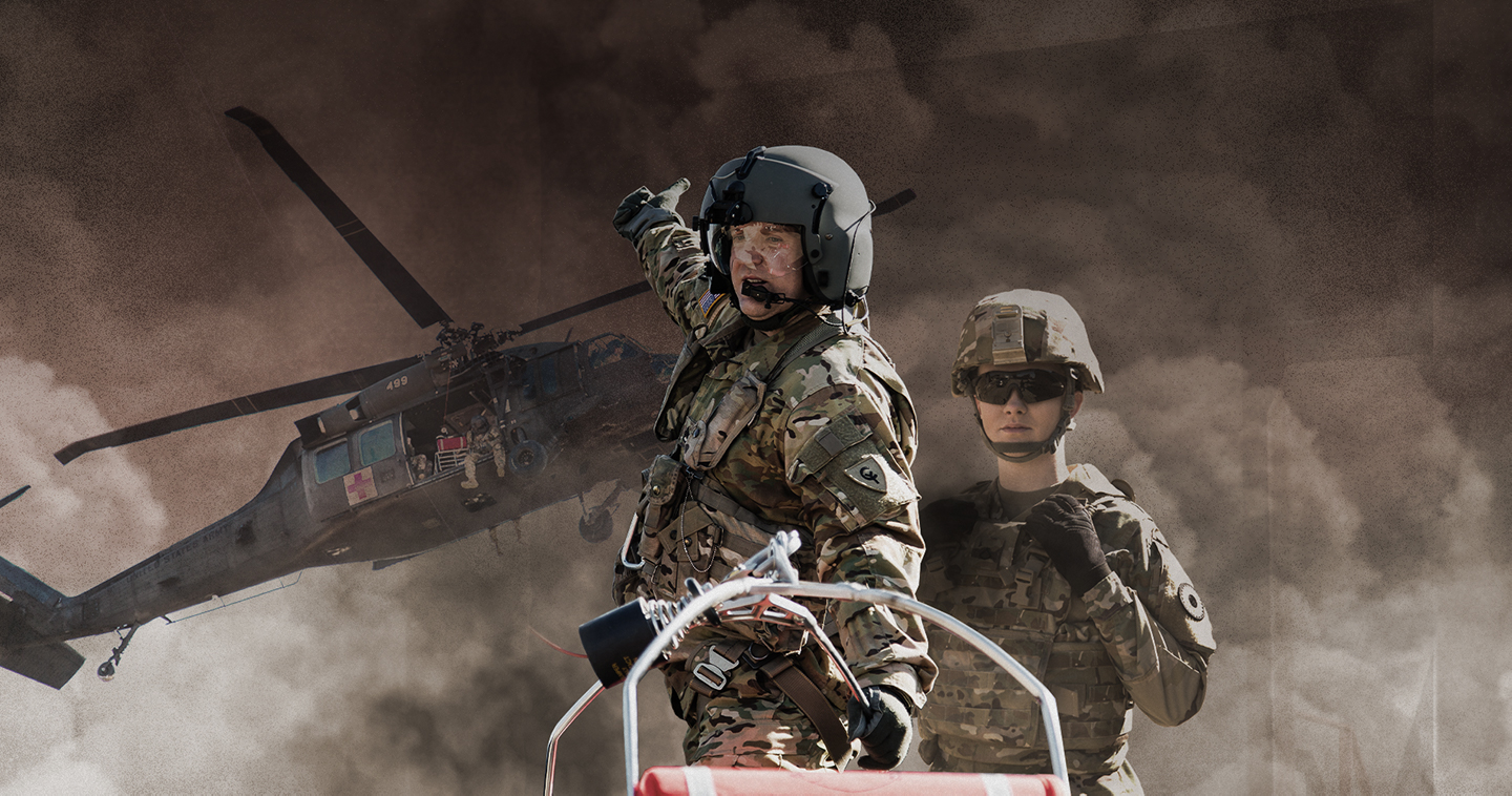Behind the scenes of an Army National Guard photo shoot of soldiers and helicopter in the background