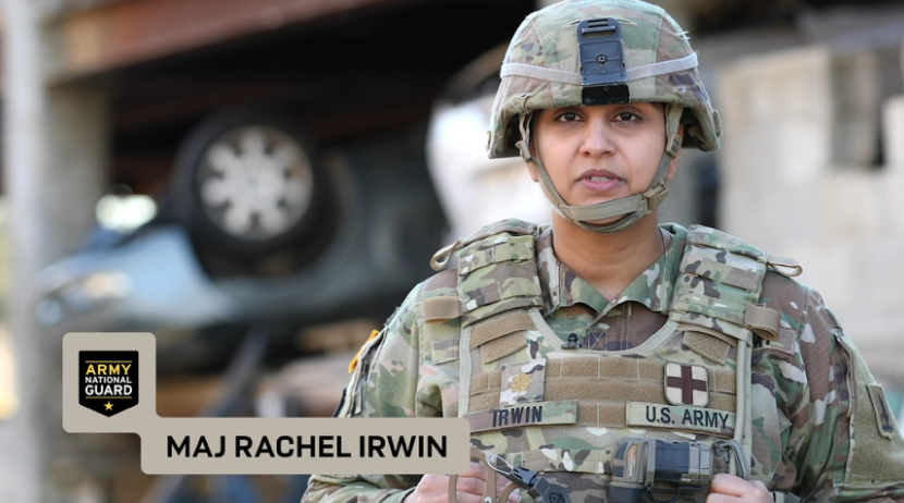 Behind the scenes of an Army National Guard photo shoot with MAJ Rachel Irwin
