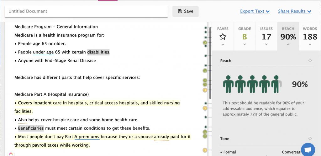 UX Readability Score Example