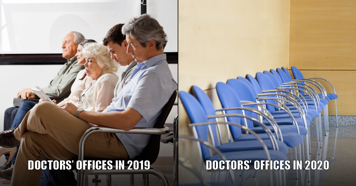Meme that shows a row of filled seats in doctors' office waiting room on the left and a row of empty chairs on the right