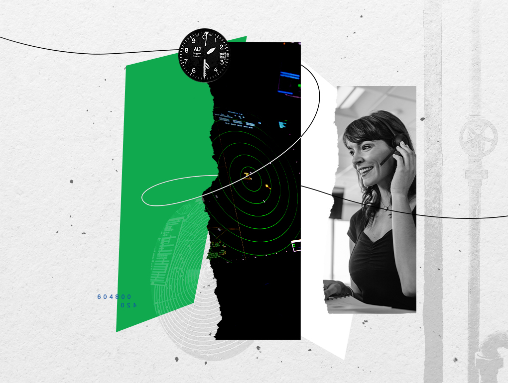 Black, white and green collage featuring call center operator