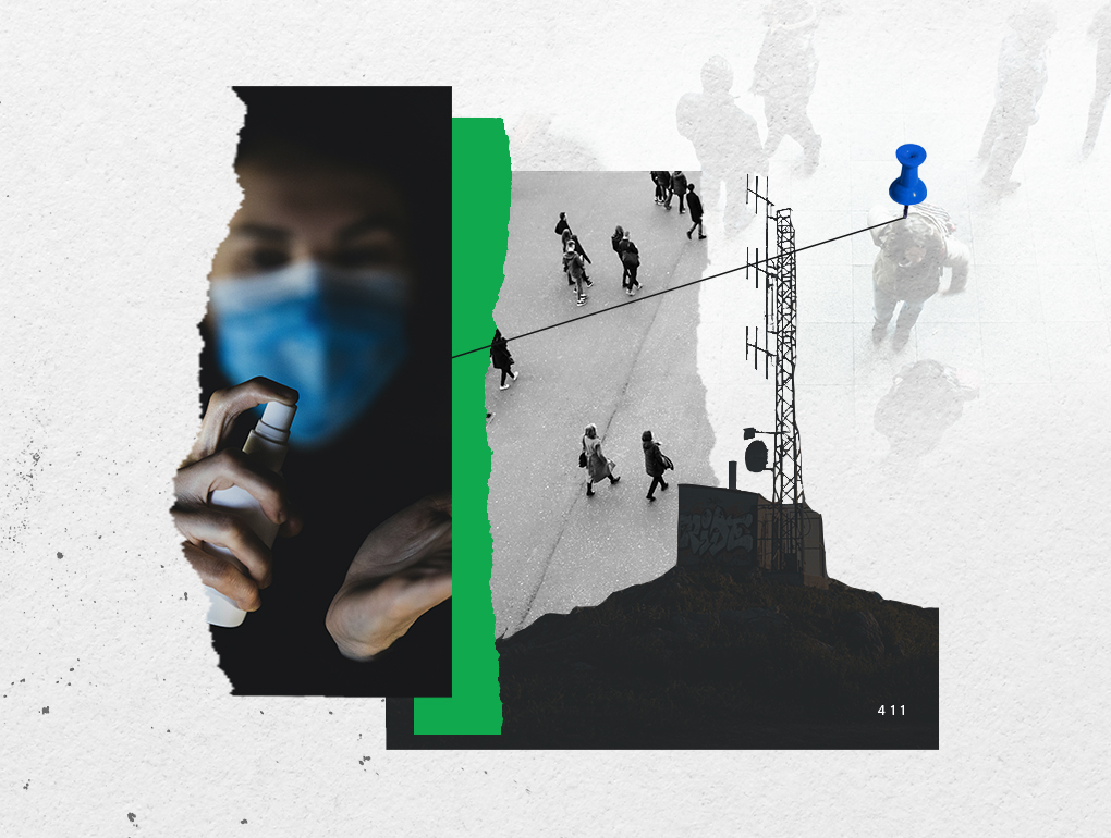 Black, white and green collage featuring healthcare worker with mask on