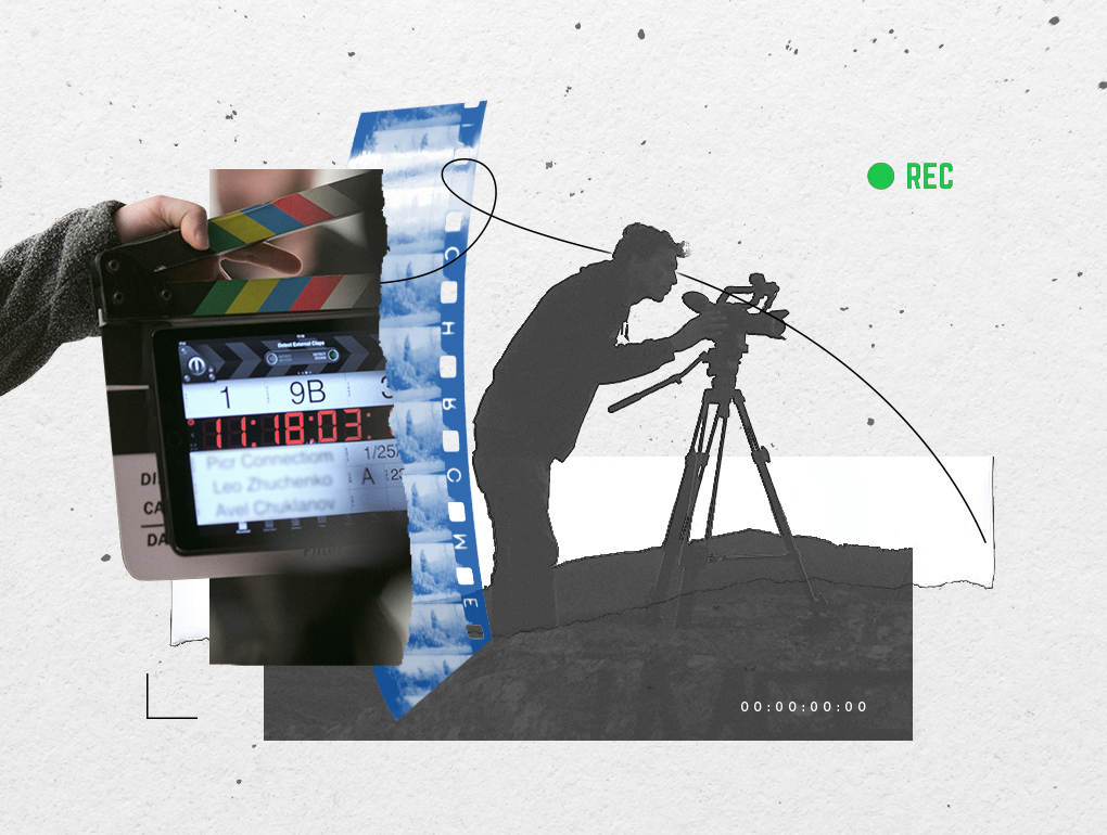Black, white and green collage featuring videographer