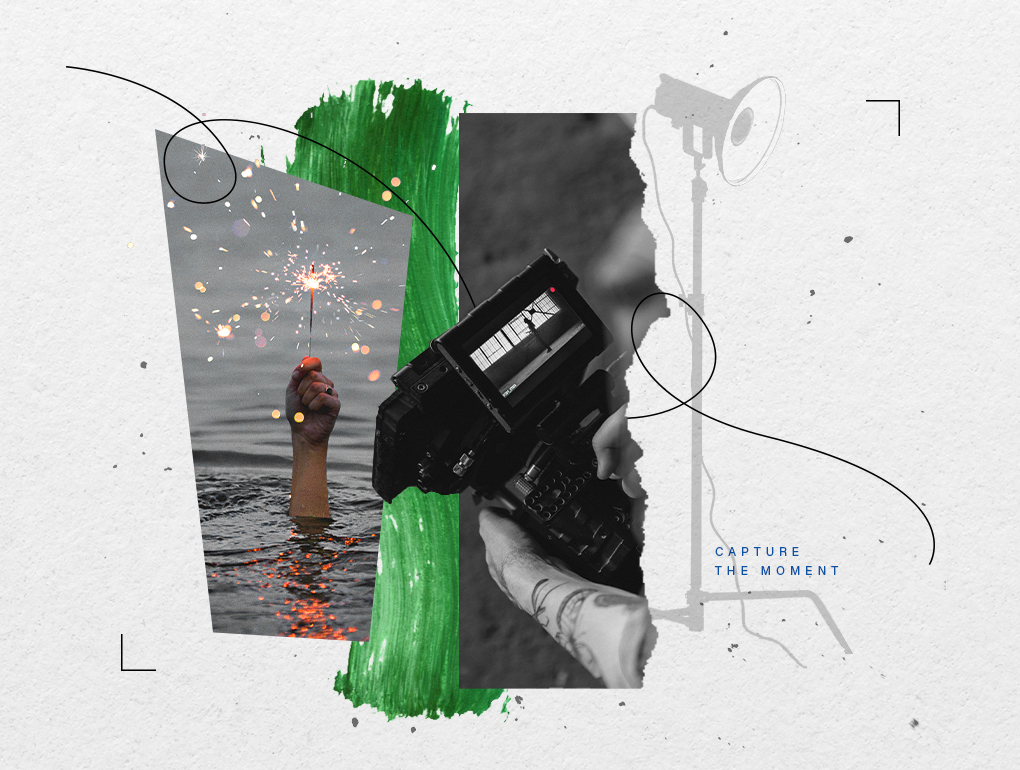 Black, white and green collage featuring video camera