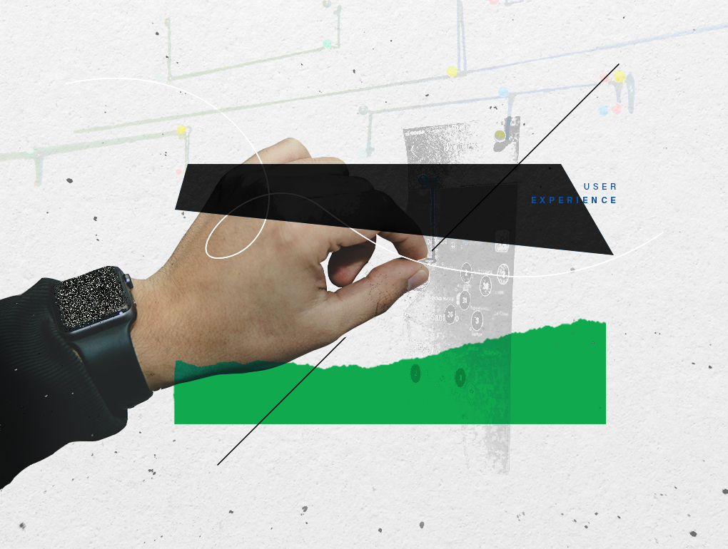 Black, white and green collage featuring a hand interacting with a user interface